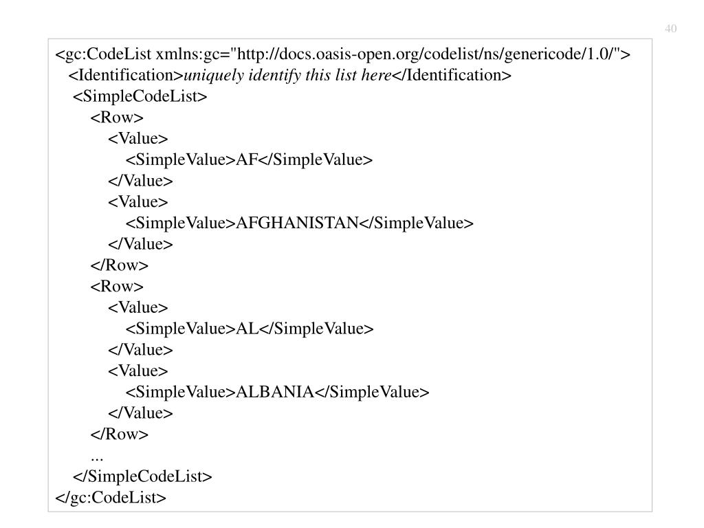 """<gc:CodeList xmlns:gc=""""http://docs.oasis-open.org/codelist/ns/genericode/1.0/"""">"""