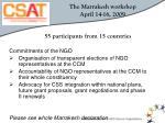 the marrakesh workshop april 14 16 2009
