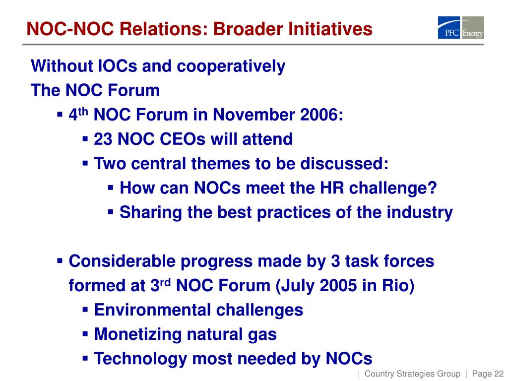 NOC-NOC Relations: Broader Initiatives