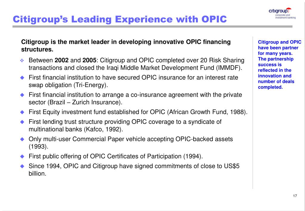 Citigroup's Leading Experience with OPIC