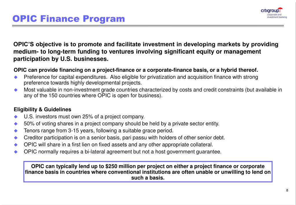OPIC Finance Program
