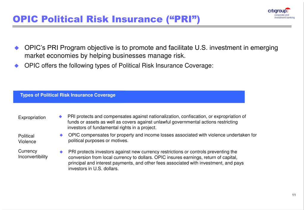 Types of Political Risk Insurance Coverage