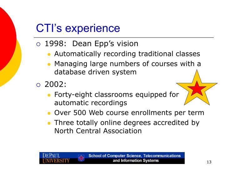 CTI's experience
