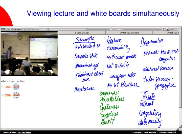 Viewing lecture and white boards simultaneously