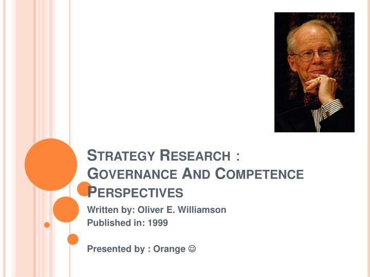 strategy research governance and competence perspectives