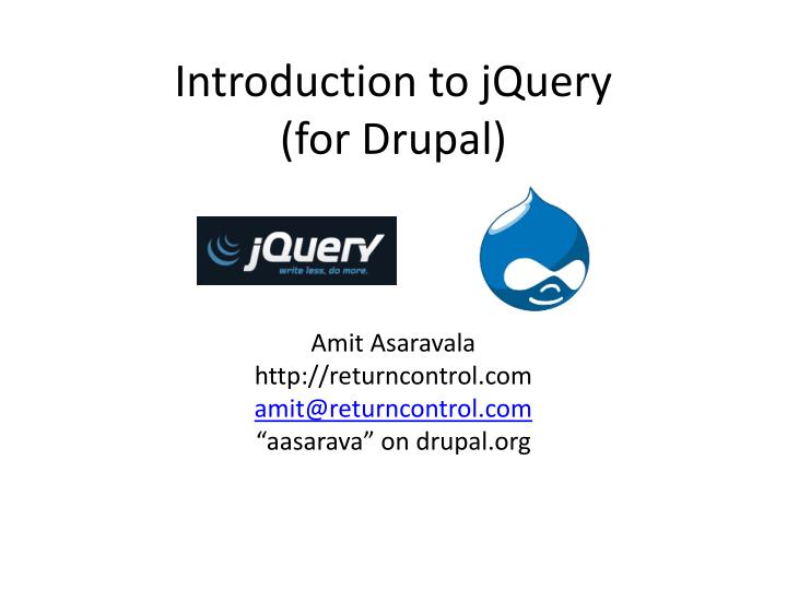 Introduction to jquery for drupal