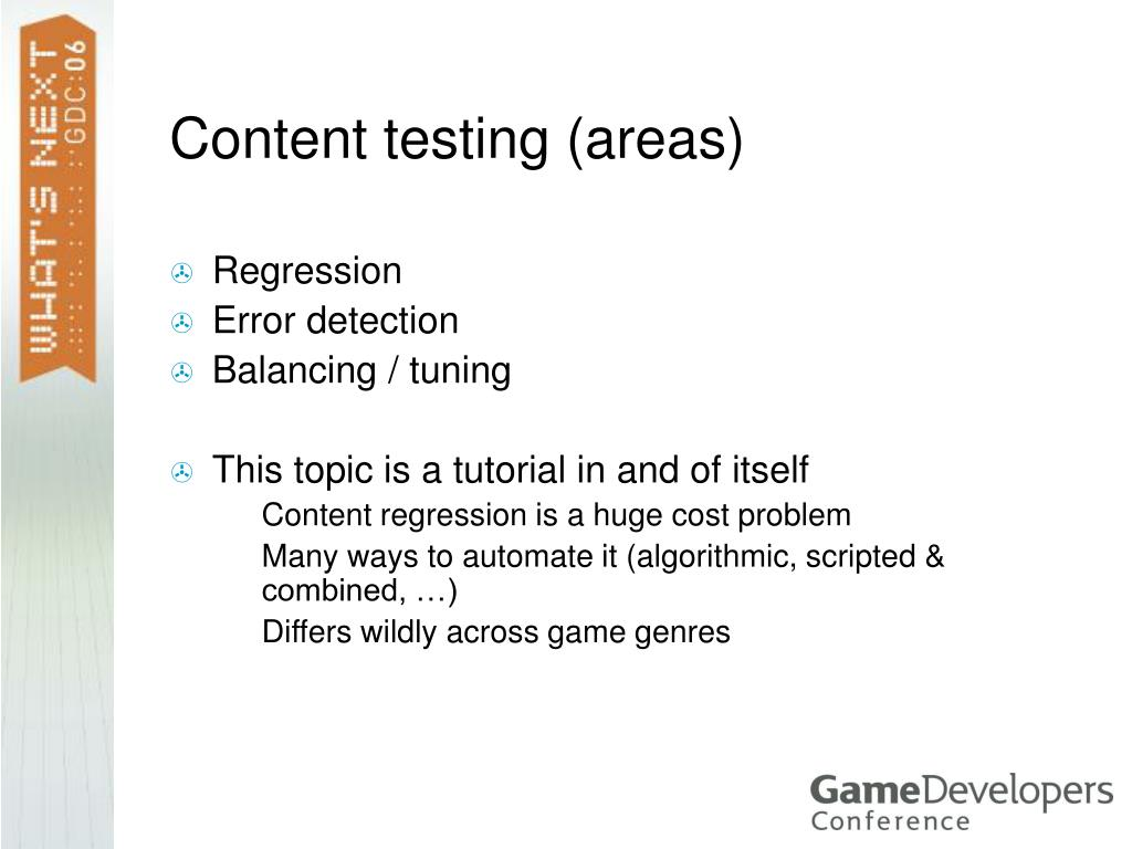 Content testing (areas)