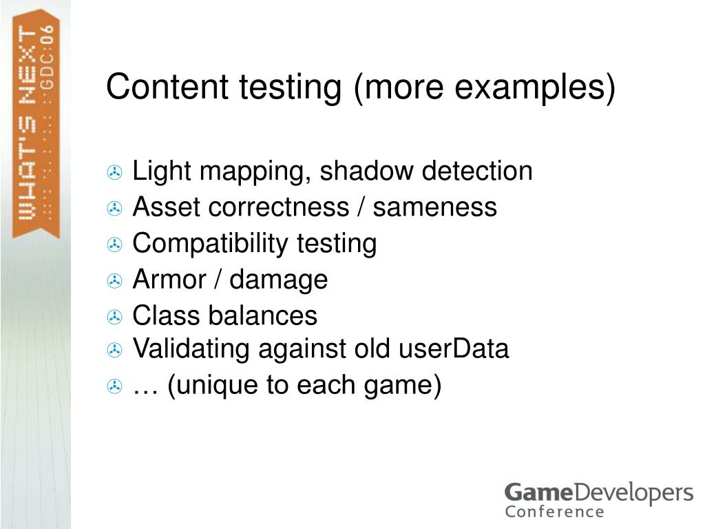 Content testing (more examples)