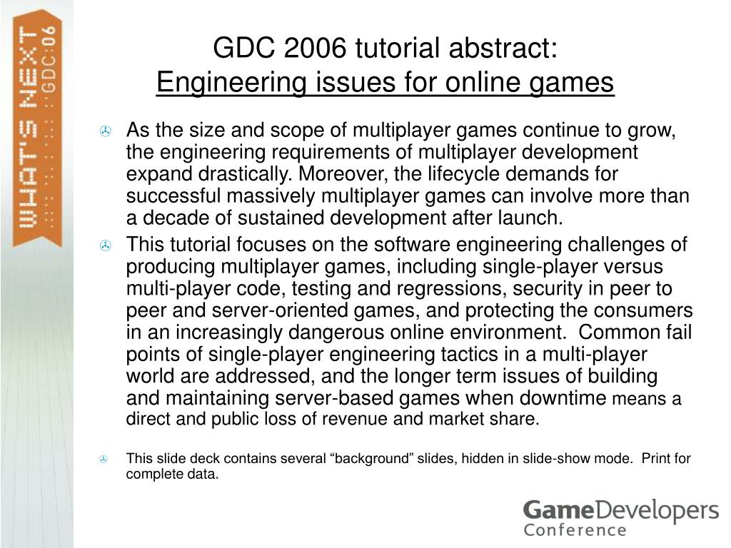 GDC 2006 tutorial abstract: