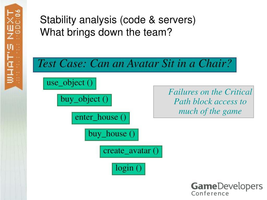 Stability analysis (code & servers)