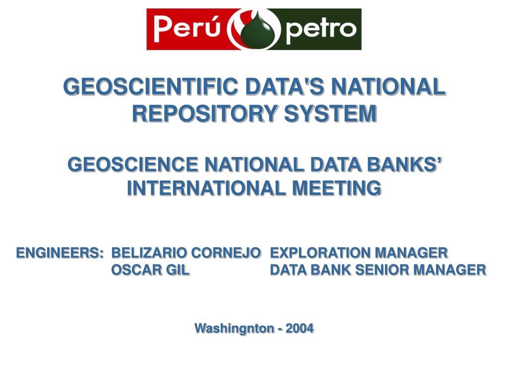 geoscientific data s national repository system l.