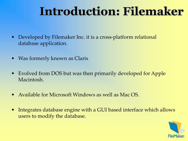 Introduction filemaker