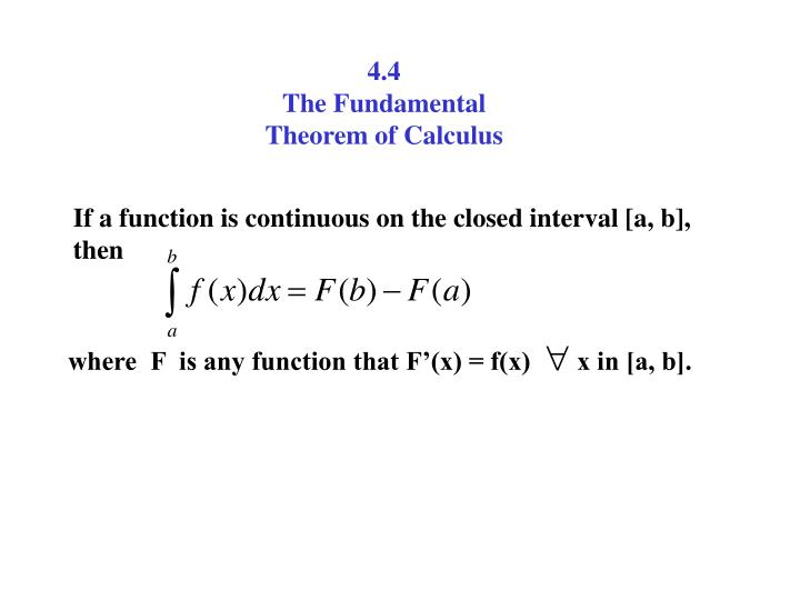 PPT - 4 4 The Fundamental Theorem of Calculus PowerPoint