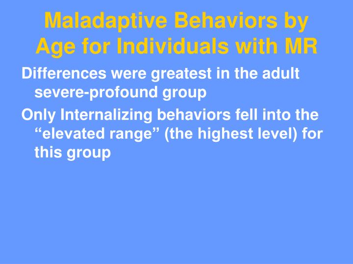 Maladaptive Behaviors by Age for Individuals with MR