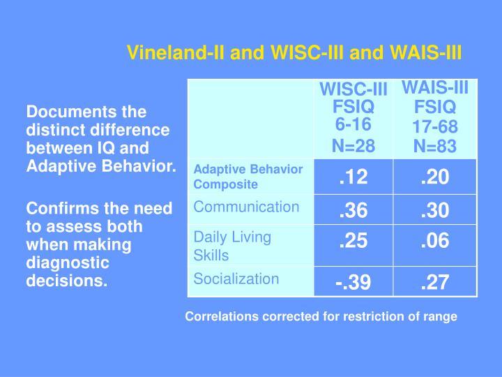 Vineland-II and WISC-III and WAIS-III