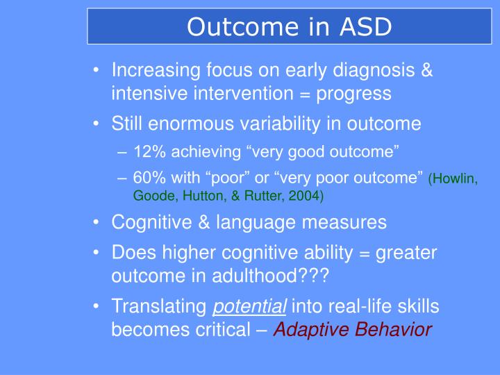 Outcome in ASD