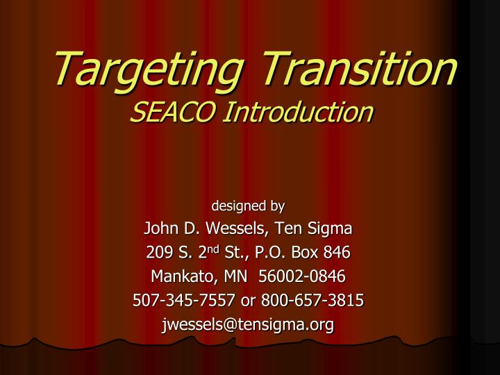 targeting transition seaco introduction n.