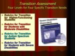 transition assessment four levels for four specific transition needs