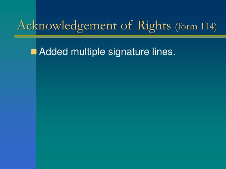 Acknowledgement of Rights