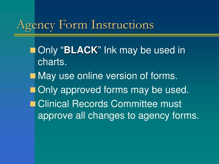 Agency Form Instructions