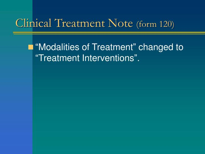 Clinical Treatment Note