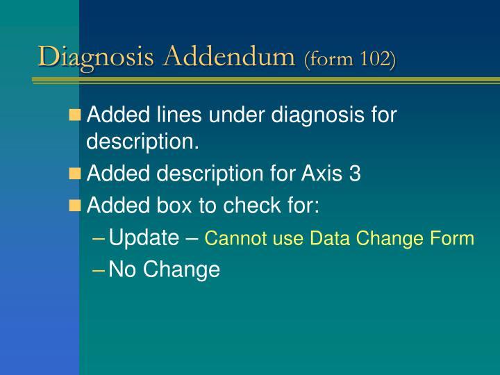 Diagnosis Addendum