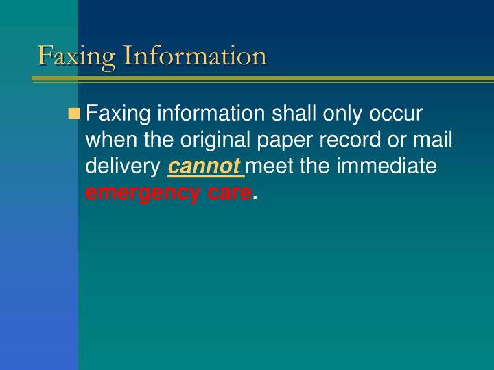 Faxing Information