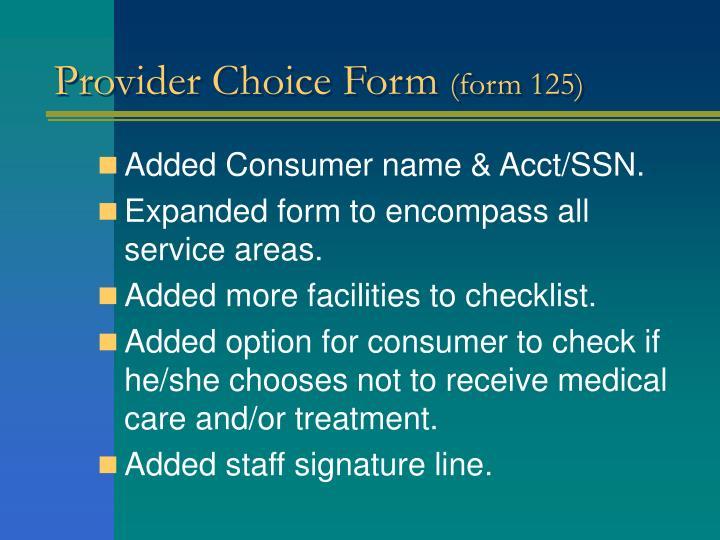 Provider Choice Form