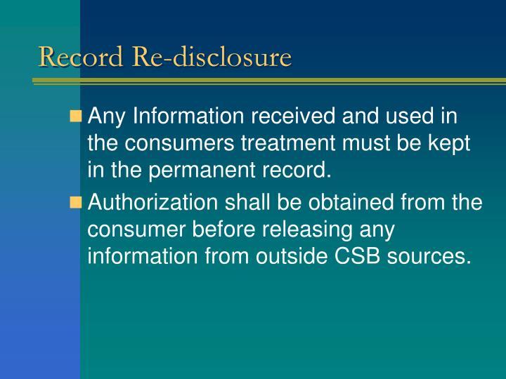 Record Re-disclosure
