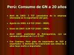 per consumo de gn a 20 a os