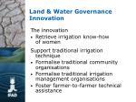 land water governance innovation