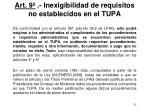 art 9 inexigibilidad de requisitos no establecidos en el tupa
