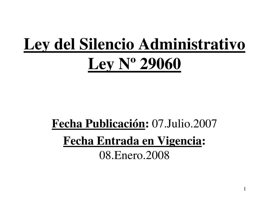 ley del silencio administrativo ley n 29060