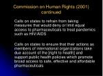 commission on human rights 2001 continued