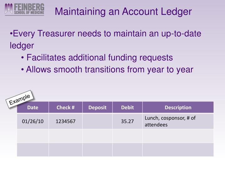 Maintaining an Account Ledger