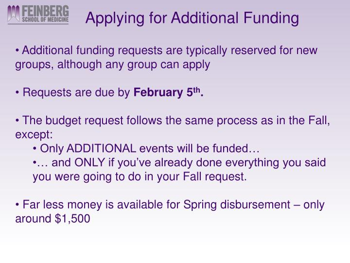 Applying for Additional Funding