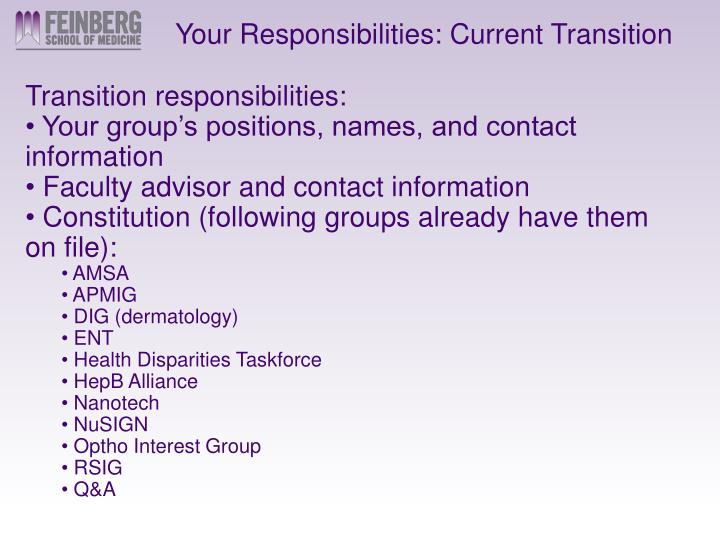 Your Responsibilities: Current Transition