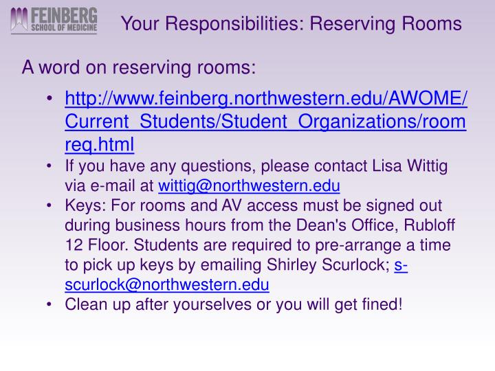 Your Responsibilities: Reserving Rooms