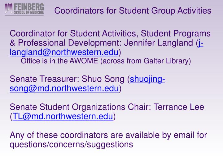 Coordinators for Student Group Activities