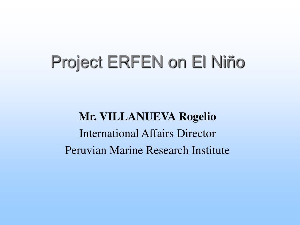 project erfen on el ni o l.