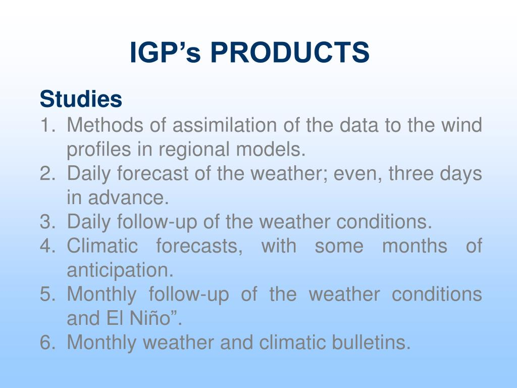 IGP's PRODUCTS