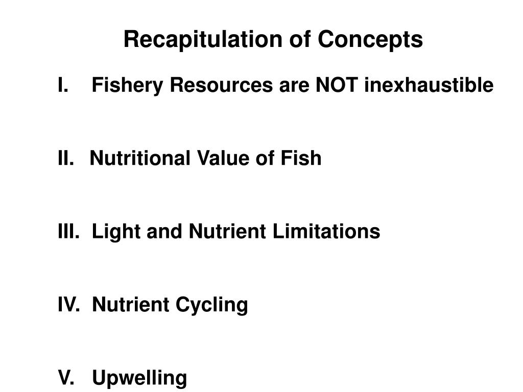 Recapitulation of Concepts