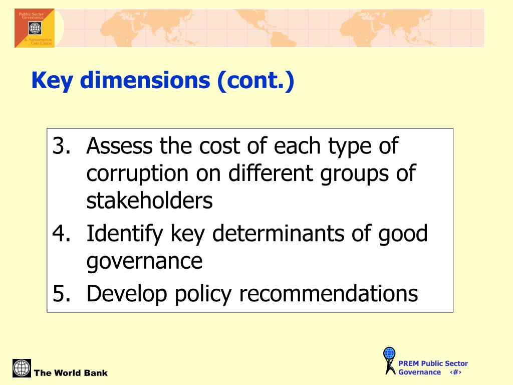 Assess the cost of each type of corruption on different groups of stakeholders