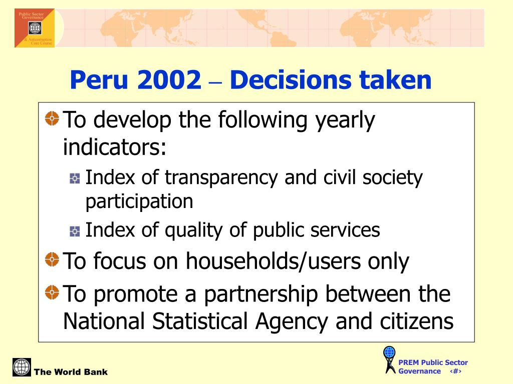 To develop the following yearly indicators: