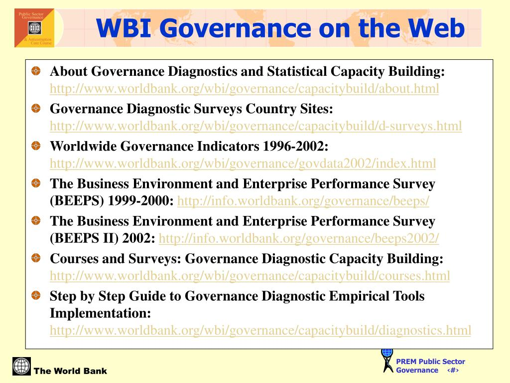About Governance Diagnostics and Statistical Capacity Building: