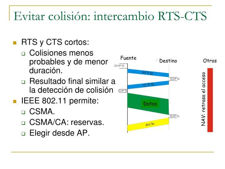 Evitar colisión: intercambio RTS-CTS