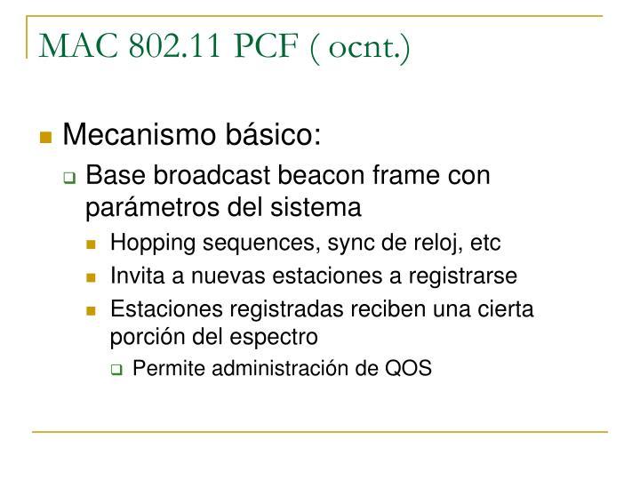 MAC 802.11 PCF ( ocnt.)