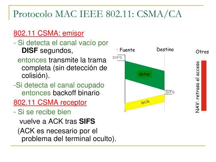 Protocolo MAC IEEE 802.11: CSMA/CA