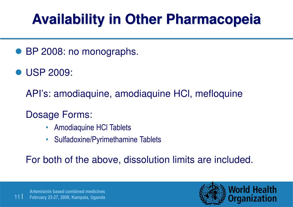Availability in Other Pharmacopeia