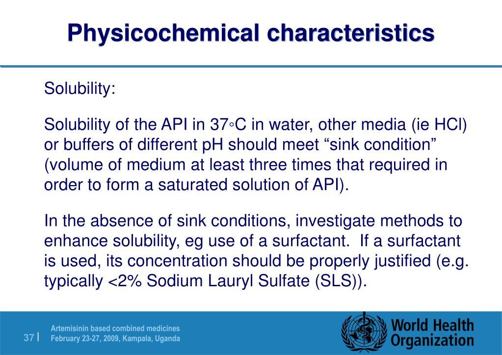Physicochemical characteristics